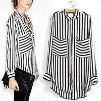 Big promotion 2013 Mandarin Collar Vertical Stripes shirt for women with size S M L