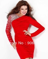 Hot Red Chiffon Long Sleeves Beading Newest Bridal Short Skirt LR-S