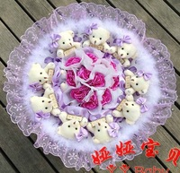 Hot New Carnation Cartoon Bouquet Korean Diamond With Bowknot Bear 9 Teddy Bear Hold with Love Doll Bouquet Gift G88