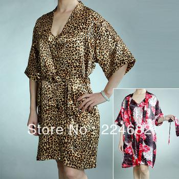 free shipping 2014 New Arrival hot sale women summer thin sleeping skirt home robe dress cute satin pajamas 2 colour