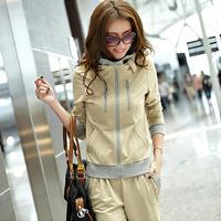 Free Shipping 2014 New Fashion Casual Sportswear Cotton Plus Size 3XL Sport Suit Women Hoody Sweatshirt Outerwear 3 COLORS