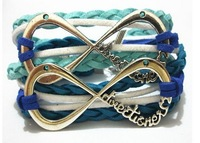 2013 Fashion One Direction Mixed Colors Leather Bracelet Bangle 3 Colors Free Shipping