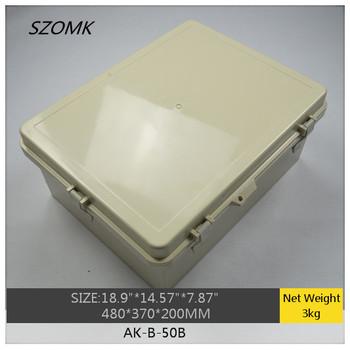 "1 piece ip65 hinged waterproof plastic enclosure/box for electronic/for PCB  AK-B-50B   480x370x200mm  18.9""x14.57""x7.87"""