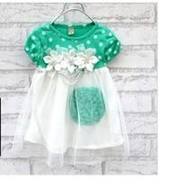 2014 summer New  baby girls clothes kids tutu dress girl dress with flower Children's clothing cz0011