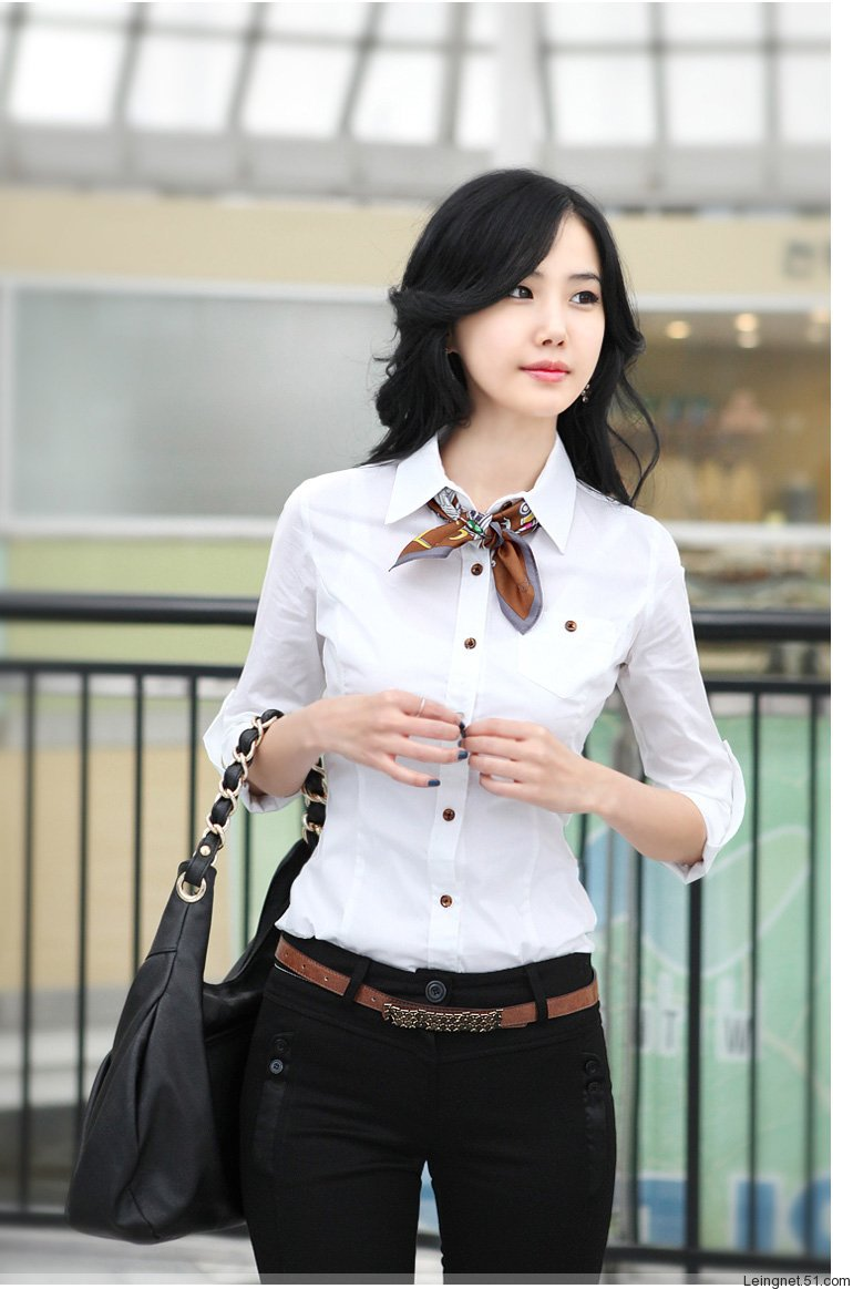 three quartz sleeve Korean lady under shirt fashion silm business wearing pure color official lady's blouse(China (Mainland))