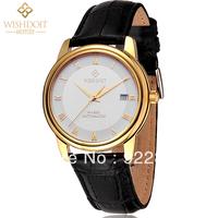 Brand WISHDOIT Luxury Swiss Automatic Machinery Movement Waterproof Leather Strap 18K Gold Sapphire Vintage Male Business Watch
