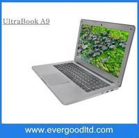 Free Shipping 13.3 inch Notebook  A9 Ultrabook laptop PC Intel Celeron 1037U 1.8Ghz dual core Webcam HDMI 2GB 320GB