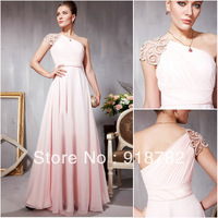 New Arrival New Design Floor Length Chiffon A Line One Shoulder Long Formal Girls Dress Pink Party Evening Dresses 2013