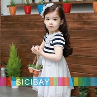 2014 Summer Elegant TUTU Tulle Striped design cute little girl dresses Princess baby child kids clothes girls dress K0496