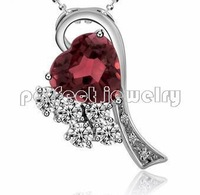 Garnet necklace pendant Free shipping Natural garnet 925 sterling silver plate 18k white gold Lover heart style New Red gem