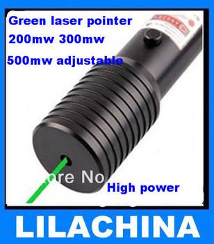 Wholesale Green Laser Pointer Pen 200mw 300mw 500mw Adjustable High Power Burn Match Free shipping
