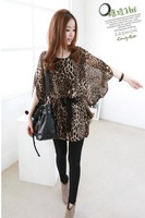 Free Shipping + Wholesale! Very Charming Fashion Ladies Girls Women's Leopard Dress With Cute Bow
