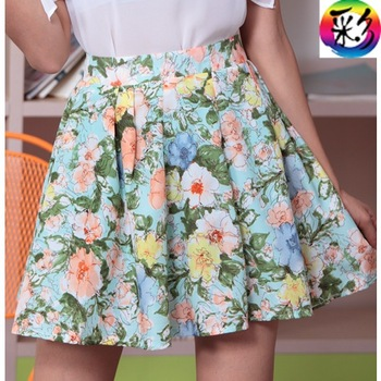free shipping 2013 women's pleated skirt flower spring and summer chiffon bust skirt short skirt