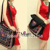 Free Shipping! Original Design Embroidered Handbag, Fashion Ethnic Embroidery Bag, Hilltribe Handmade Shoulder Bag/Totes