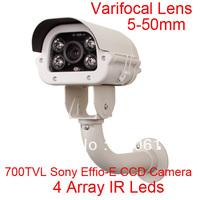"Array IR 700TVL 1/3"" SONY EFFIO-E CCD 5-50mm 10X Zoom Lens Waterproof Surveillance Security CCTV Camera OSD Control"