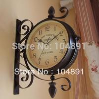 L047 free shipping double-faced wall hanging clocks. Iron wall clocks. modern art wall clock. home garden clocks  1pc/lot