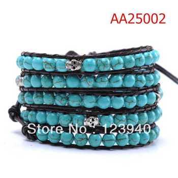 lu lu Skull head Classical Natural Turquoise Beads On Black Leather 5 Wrap Bracelet  fashion wrap bracelet