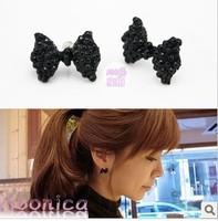 Christmas Gift (Minimum $ 5) 2012 Lovely Cute Rhinestone Crystal Bowknot Bow Tie Earrings Earring