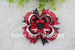 4.5 inches boutique minnie mouse bow with polk dot ribbon , mix color,2013 hot sell, free shipping(China (Mainland))