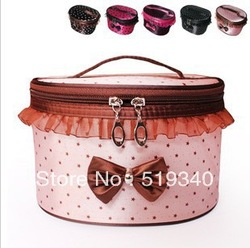Fashion Large Cosmetic Organizer Mac Storage Case Handbag 20*15*13cm Makeup bags DOT bowknot Cosmetic Cases Free shipping(China (Mainland))