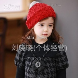 Girls 2013 New Winter Thick Korean Children Wool Cap Apple Cake Berets Girls Fashion Hats 6571(China (Mainland))