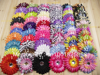 "WHOLESALE LOT BEAUTIFUL 100PC 4"" 62 COLORS NEWBORN GERBER DAISY  Flowers  Hair clip BABY GIRL FAST FREE SHIPPING TO U.S/U.K/ONLY"