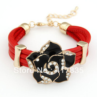 Minimum Order $ 10 (mixed order) Free Shipping 2013 new leather Weave roses rhinestone bracelet for women  red
