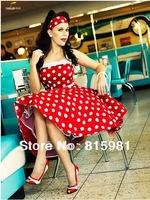 2013 Red White Polka Dot Halter 50's 60's Rockabilly Dress PIN UP Swing DRESS Lace up back XS S M L XL XXL 3XL 4XL