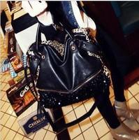 WHOLESALE!!2013 fashion bag casual all-match leopard print paillette bag one shoulder handbag women's handbag100-15