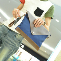 2013 casual male shoulder bag envelope day clutch canvas bag file bag man bag