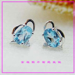 Natural topaz stone stud earring unique(China (Mainland))