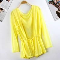 Summer women's 2013 medium-long long-sleeve transparent sun protection clothing air conditioning cardigan short jacket thin