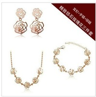 Free shipping delicate jewelry suit ShanZuan roses zircon crystal earrings/necklace/bracelet set