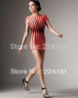 High Quality HL Vertical Stripes Slim Bandage Dress Celebrity Partly Bodycon Dresses