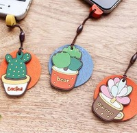 Free Shipping 3pcs U-pick succulents cactus screen wipe earphones dust plug cell phone accessories pendant