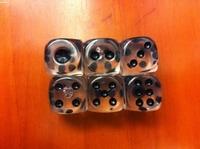 15 full transparent full crystal black spot dice exquisite acrylic transparent dice gift decoration