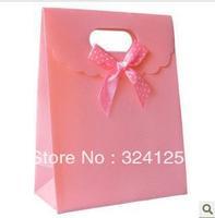 20pcs/lots 25.5*18.5*8cm pink PP gift packaging bag,thickening holiday gift bag,birthday gift packaging bag Free shipping