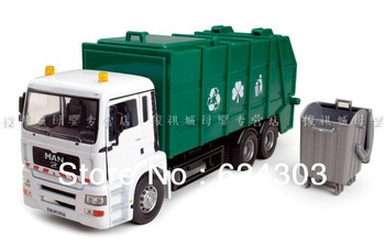 Free Shipping! 2013  newest ! 1:32 large garbage truck with rubbish bin  alloy car model the best  kids toys