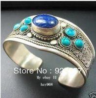 Wonderful Tibet Silver inlay Lapis Lazuli Turquoise Cuff Bracelet Fashion jewelry