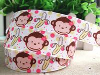 2013 new arrival 7/8''  22mm monkey grosgrain ribbon cartoon ribbon printed animal ribbon 10 yards