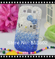 Galaxy S3 Bling Case,For Samsung Galaxy SIII S3 i9300 Blue 3D Kitty Cat Swarovski Bling Crystal Case NEW