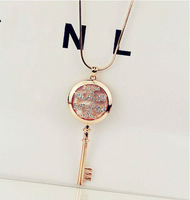 Free Shipping Hot Fashion Necklace Korea style Jewellery Crystal Long Necklace Key Necklace gold plating Wholesale mix order