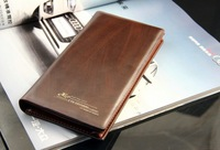 Free shipping 1pc fashion brown color genuine leather medium-long design cowhide wallet&purse