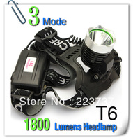 new 1800 Lumens CREE XM-L T6 LED HeadLight Rechargeable Headlamp Bike Bicycle Light