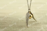20pcs/lot Silver Tone The Golden Snitch Pendant Necklace harry potter jewelry handmade gift