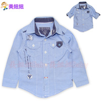 2013 male child denim shirt clothing soft washed cotton spring and autumn denim shirt dual
