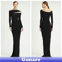 EG088 Gonare Long Sleeves Chiffon Sheath Evening Prom Dresses Free Shipping 2013
