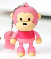 K-030  Wholesale Hot Cheap Enough Cartoon Pink Monkey 4GB 8GB 16GB 32GB  USB 2.0 Flash Memory Stick Drive Thumb/Car/Pen Gift