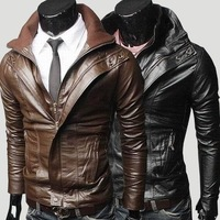 2012 trend brief double collar design short slim leather clothing outerwear male casual water wash motorcycle leather clothing