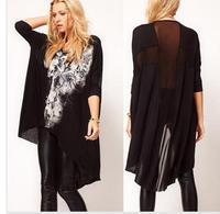 2013 Fashion O-Neck Tops Tees Ladies'  t-shirt punk skull Print Large/Plus Size Lady Blouse shirt/tops Free Shipping